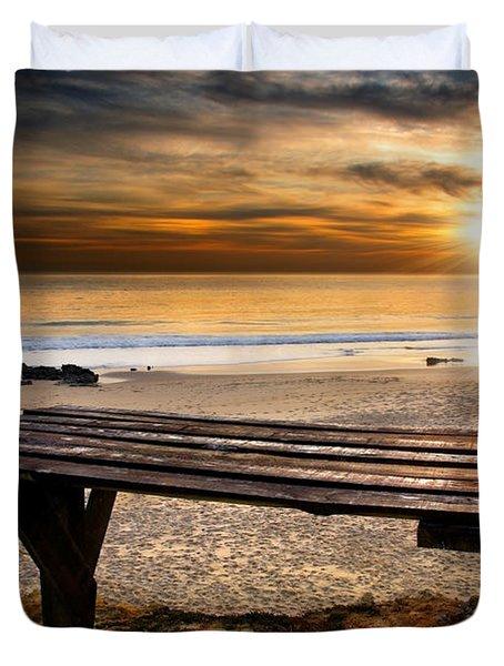 Carcavelos Beach Duvet Cover by Carlos Caetano