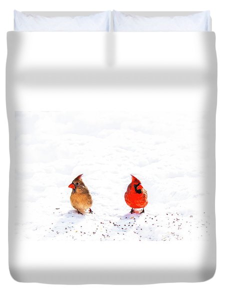 Cardinal Couple II Duvet Cover by Tamyra Ayles