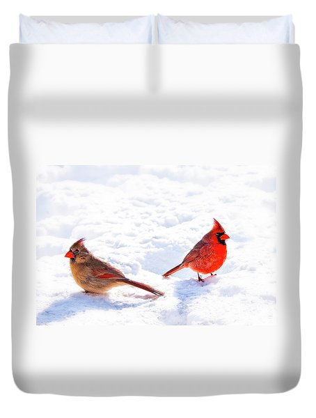 Cardinal Couple Duvet Cover by Tamyra Ayles
