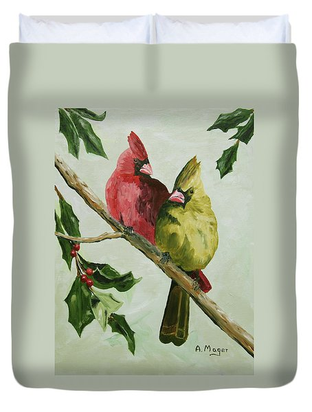 Cardinals With Holly Duvet Cover