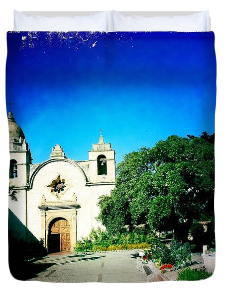 Duvet Cover featuring the photograph Carmel Mission by Nina Prommer