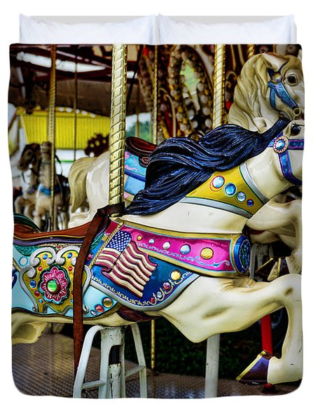 Carousel - Horse - Jumping Duvet Cover by Paul Ward