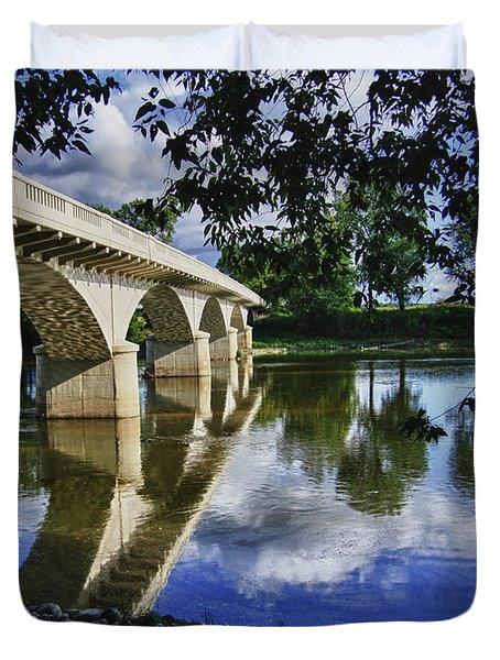 Carrollton Bridge Over The Wabash Duvet Cover by Jim Finch