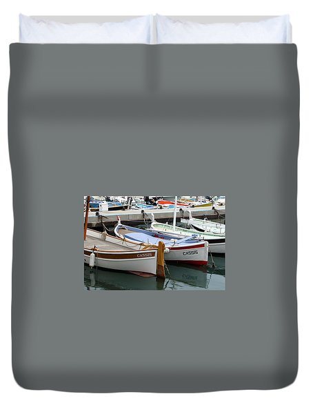 Duvet Cover featuring the photograph Cassis Harbor by Carla Parris