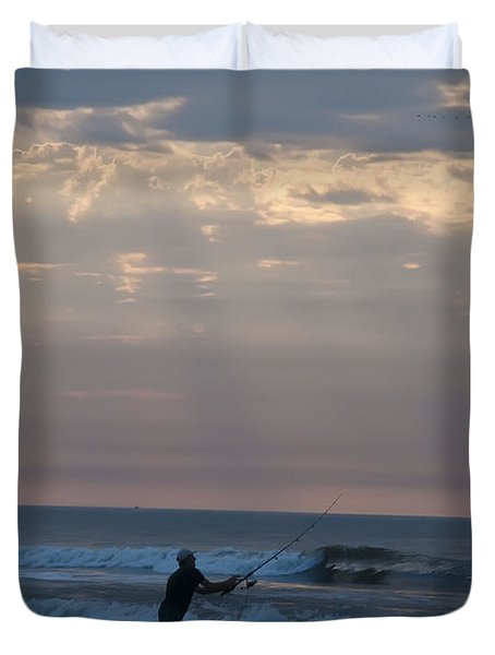 Casting Into The Surf Duvet Cover by Bill Cannon