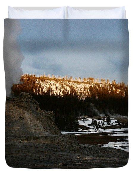 Castle Geyser Yellowstone National Park Duvet Cover