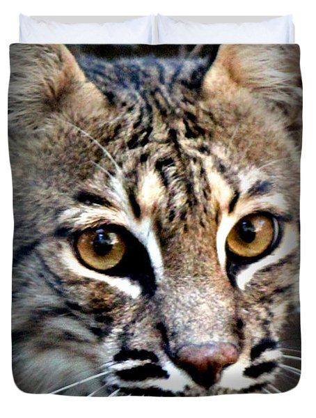 Duvet Cover featuring the photograph Cat Fever by Kathy  White