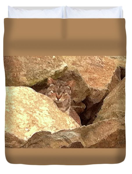 Cat On The Rocks Duvet Cover