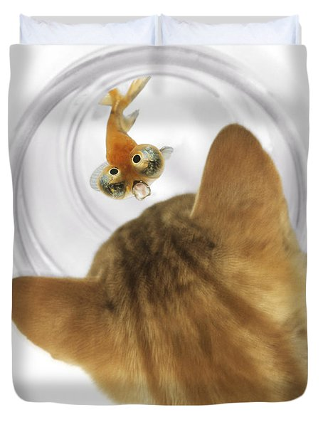Cat Peering Into Fishbowl Duvet Cover by Darwin Wiggett