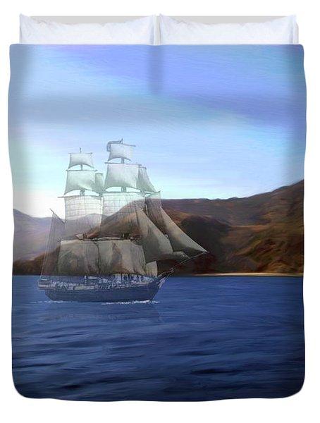 Catalina Shoreline Ghost Ship Duvet Cover by Snake Jagger