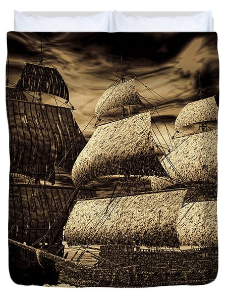Catastrophic Collision-sepia Duvet Cover by Lourry Legarde