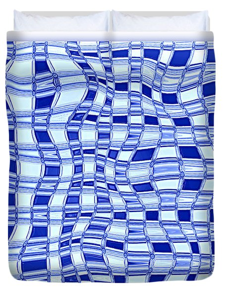 Catch A Wave - Blue Abstract Duvet Cover by Carol Groenen