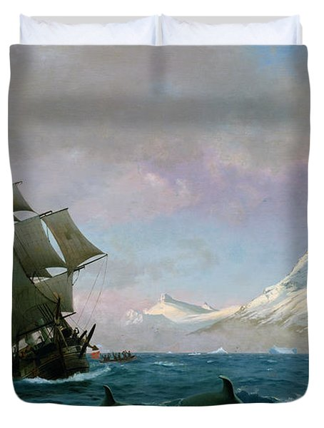 Catching Whales Duvet Cover by J E Carl Rasmussen