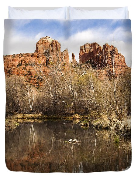 Cathedral Rock Reflections Landscape Duvet Cover by Darcy Michaelchuk