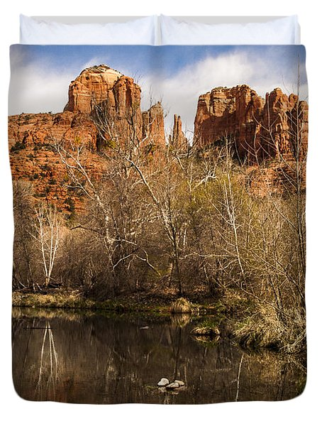 Cathedral Rock Reflections Portrait 1 Duvet Cover by Darcy Michaelchuk