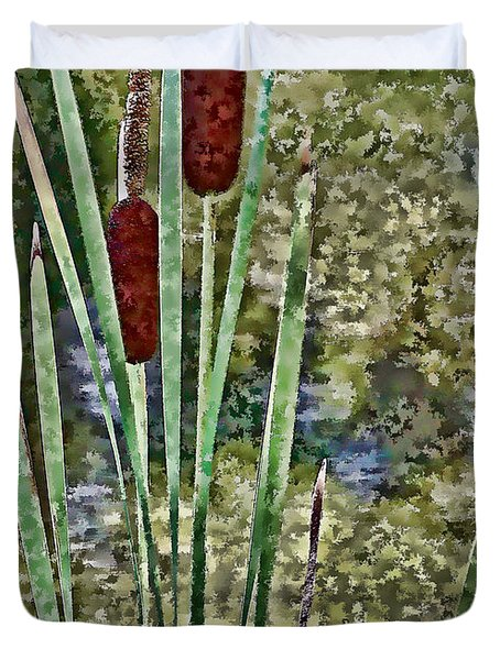 Duvet Cover featuring the photograph Cattails Along The Pond by Don Schwartz