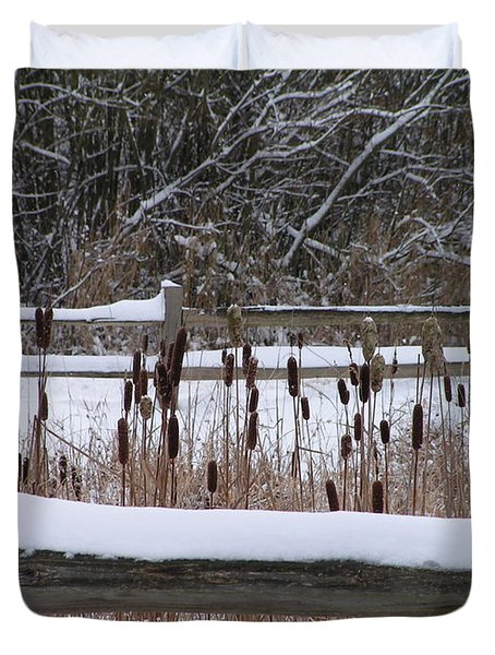 Duvet Cover featuring the photograph Cattails In The Pond by Rand Swift