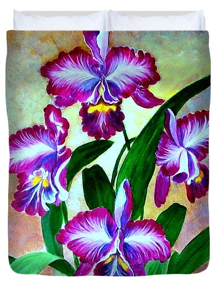 Duvet Cover featuring the painting Cattleya Orchid by Fram Cama