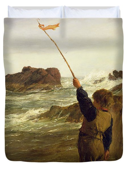 Caught By The Tide Duvet Cover by James Clarke Hook