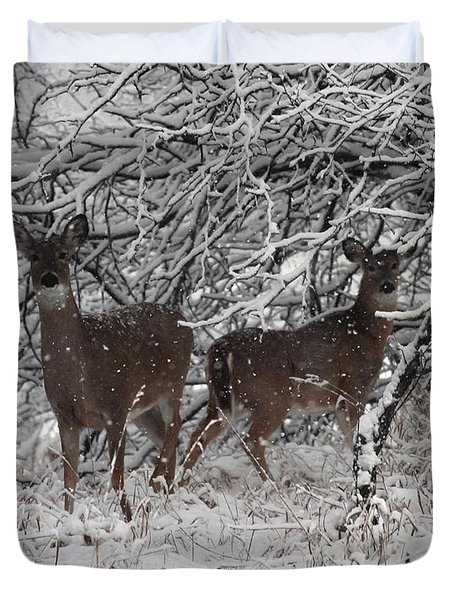 Duvet Cover featuring the photograph Caught In The Snow Storm by Elizabeth Winter