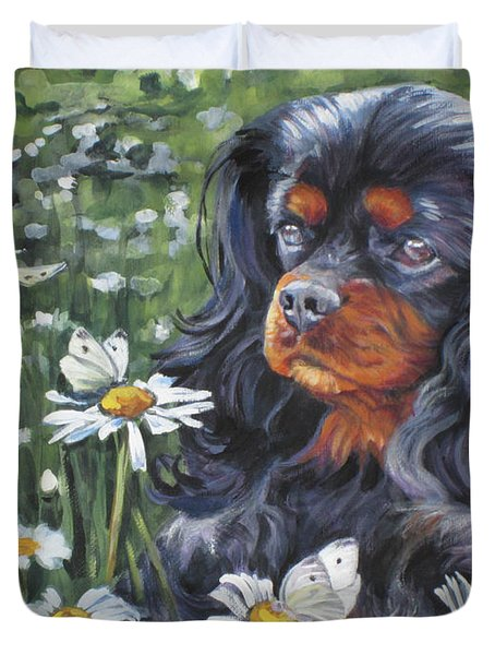 Cavalier King Charles In The Wildflowers Duvet Cover