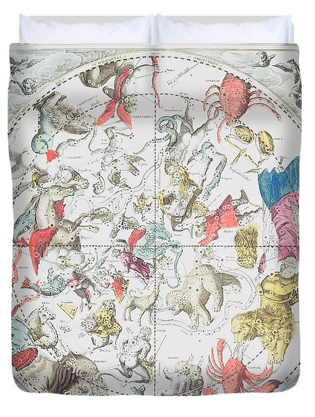 Celestial Planisphere Showing The Signs Of The Zodiac Duvet Cover by Andreas Cellarius