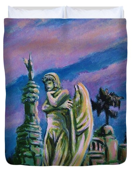 Cemetary Guardian Duvet Cover by John Malone