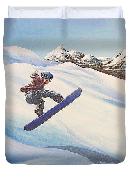 Central Oregon Snowboarding Duvet Cover by Janice Smith