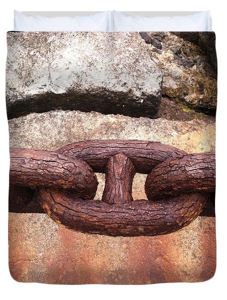 Duvet Cover featuring the photograph Chain Under The Golden Gate Bridge by Bill Owen