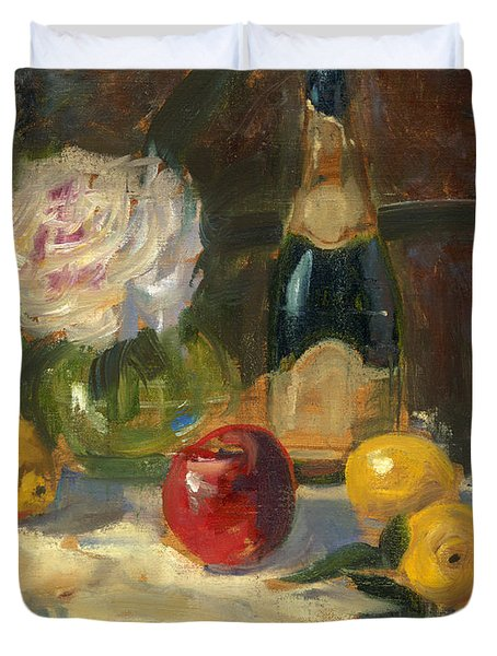 Duvet Cover featuring the painting Champagne And Roses by Marlyn Boyd