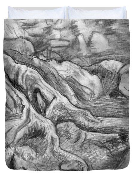 Charcoal Drawing Of Gnarled Pine Tree Roots In Swampy Area Duvet Cover by Adam Long