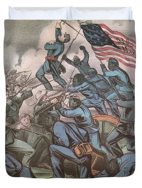 Charge Of The 54th Massachusetts Duvet Cover by Photo Researchers