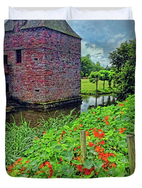 Duvet Cover featuring the photograph Chateau Tower And Nasturtiums by Dave Mills