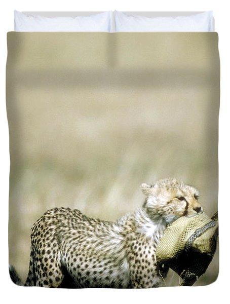 Cheetah Cub With Hat Duvet Cover by Greg Dimijian