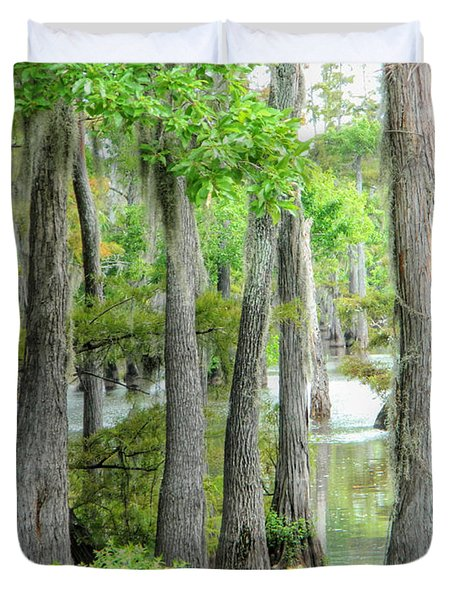 Duvet Cover featuring the photograph Cheniere Lake Cypress Trees by Ester  Rogers