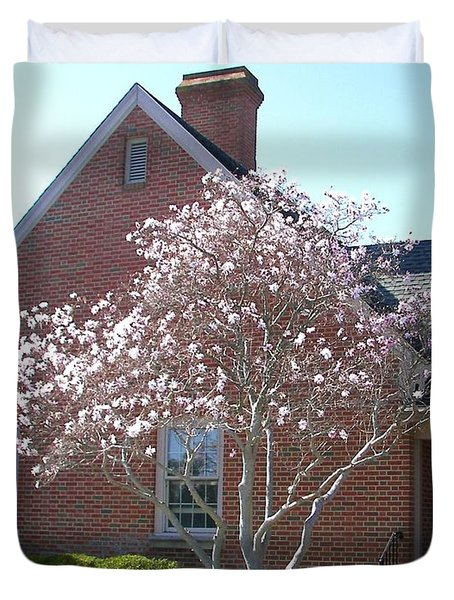 Duvet Cover featuring the photograph Cherry Blossom by Pamela Hyde Wilson