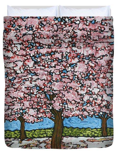 Cherry Blossom Trio Duvet Cover by Tracy Levesque