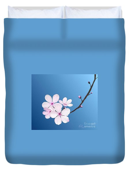 Duvet Cover featuring the painting Cherry Blossoms by Rand Herron