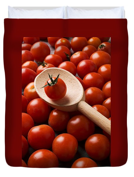 Cherry Tomatoes And Wooden Spoon Duvet Cover by Garry Gay