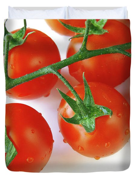 Cherry Tomatoes Duvet Cover by Carlos Caetano