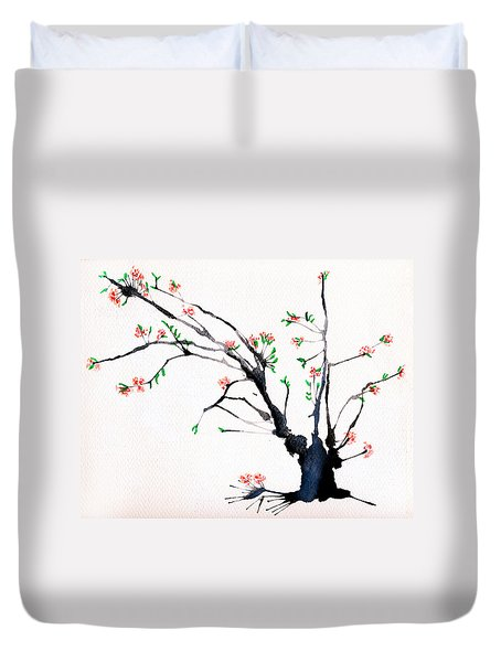 Cherry Tree By Straw Duvet Cover