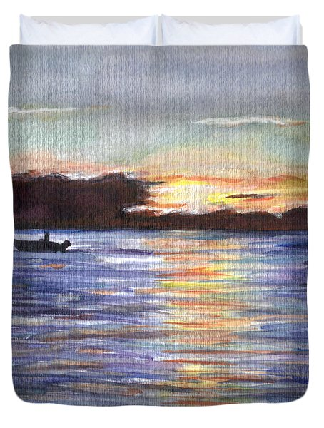 Duvet Cover featuring the painting Chesapeake Dusk Boat Ride by Clara Sue Beym
