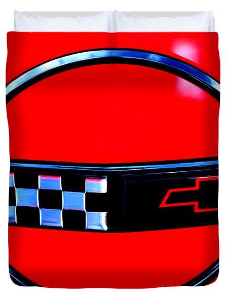 Duvet Cover featuring the digital art Chevrolet Corvette by Tony Cooper