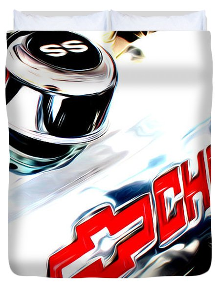 Duvet Cover featuring the digital art Chevy Power by Tony Cooper