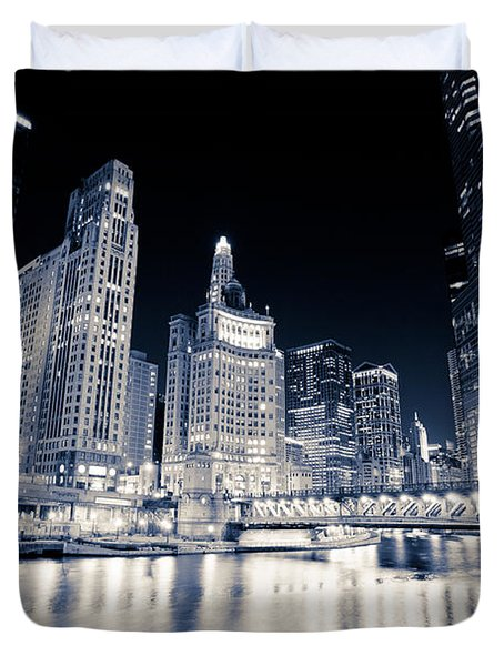 Chicago At Night At Michigan Avenue Bridge Duvet Cover by Paul Velgos