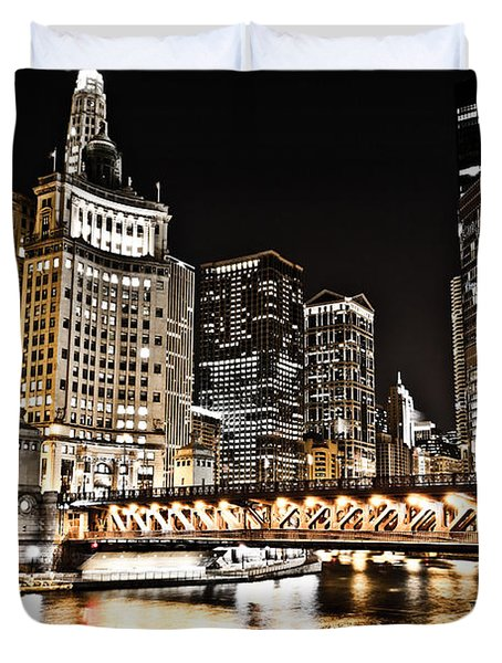Chicago City At Night Duvet Cover by Paul Velgos