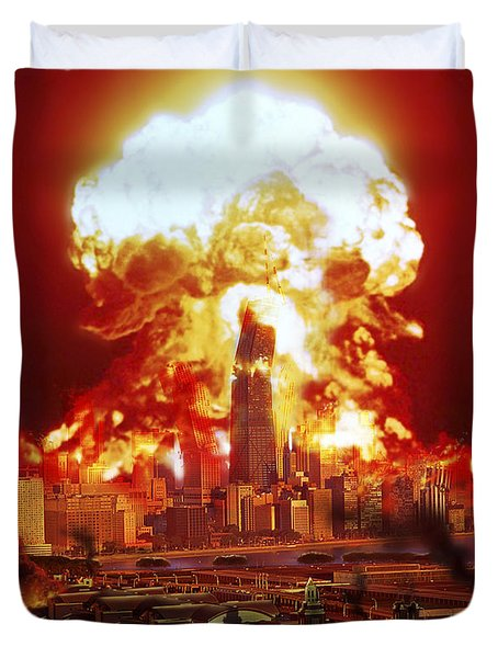 Chicago Disintegrates As A Nuclear Duvet Cover by Ron Miller