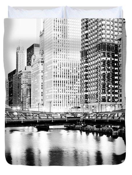 Chicago Downtown At Clark Street Bridge Duvet Cover by Paul Velgos
