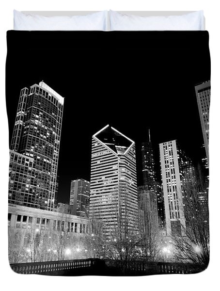 Chicago Downtown At Night  Duvet Cover by Paul Velgos