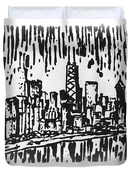 Chicago Great Fire Of 1871 Serigraph Of Skyline Buildings Sears Tower Lake Michigan Hancock Bw Duvet Cover